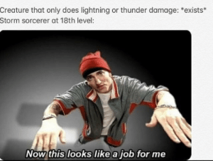 Lightning, DnD, and Creature: Creature that only does lightning or thunder damage: *exists*  Storm sorcerer at 18th level:  Now this looks like a job for me Courtesy of BobFredricson2