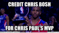 Chris Bosh, Fac, and Meme: CREDIT CHRIS BOSH  FOR CHRIS PAUL'SMVP  Brought By: Fac  ebook com /NBAMenneg  What CP3's MVP! Credit: Victor Allen Roque  http://whatdoumeme.com/meme/te8ckz