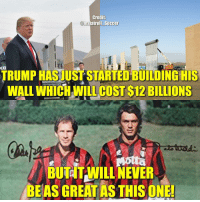 Goals, Memes, and Soccer: Credit:  nstatroll Soccer  LICE  TRUMP HASJUST STARTED BUILDING HIS  WALL WHİCHAİLLCOST BILLIONS  $12  BUTITAWILL NEVER  BEAS GREAT AS THIS ONE! Franco Baresi and Paolo Maldini played 196 matches together for AC Milan and conceded just 29 goals. Increadible stat.💥