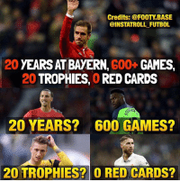 Footballers' reactions to Lahm's career 🤔😂: Credits: @FOOTY BASE  @INSTATROLL FUTBOL  20 YEARSAT BAYERN,  G00+  GAMES,  20  TROPHIES, ORED CARDS  20 YEARS? 600 GAMES?  20 TROPHIES? O RED CARDS? Footballers' reactions to Lahm's career 🤔😂