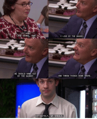 Definitely phyllisvance creedbratton jimhalpert theoffice credits - @itsnevertooearlyforicecreamjim: (Creed)  COOL BEANS, MAN.  I LIVE BY THE QUARRY.  WE SHOULD HANG OUT  BY THE QUARRY  AND THROW THINGS DOW THERE.  DEFINITELY, WE SHOULD Definitely phyllisvance creedbratton jimhalpert theoffice credits - @itsnevertooearlyforicecreamjim
