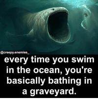 Creepy, Lol, and Memes: @creepy.enemies  every time you swim  in the ocean, youre  basically bathing in  a graveyard. Totally wanted to hear this now that I'm on vacation on an island lol - - - horror creepy scary creepyenemies dead sea ocean monster creature death creepyfact