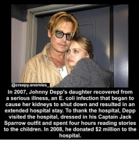 Children, Creepy, and Disney: @creepy enemies  In 2007, Johnny Depp's daughter recovered from  a serious illness, an E. coli infection that began to  cause her kidneys to shut down and resulted in an  extended hospital stay. To thank the hospital, Depp  visited the hospital, dressed in his Captain Jack  Sparrow outfit and spent four hours reading stories  to the children. In 2008, he donated $2 million to the  hospital. I know it's not creepy but Johnny Depp is my favorite actor - person in the world so deal with it :3 - - - horror creepy scary johnnydepp timburton disney fact didyouknow jacksparrow piratesofthecaribbean lilyrosedepp