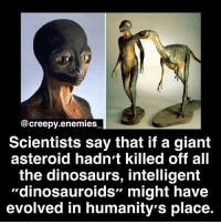 "Creepy, Dinosaur, and Memes: @creepy.enemies  Scientists say that if a giant  asteroid hadn't killed off all  the dinosaurs, intelligent  ""dinosauroids"" might have  evolved in humanity's place. 29k? Soon?👀✨ - - Tag someone. - - horror creepy scary didyouknow creepyenemies creepyfact dead dinosaur evolution alien prehistoric"