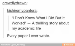 Life, Academic, and Student: crewdlydrawn:  kishiremvpantera:  'I Don't Know What I Did But It  Worked' - A thrilling story about  my academic life  Every paper I ever wrote  Reinvented by Zycoria for iFunny)  @ ifunny mobi If you are a student Follow @studentlifeproblems​