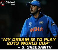 """Memes, World Cup, and Cricket: Cricket  Shots  2011  DIA  """"MY DREAM IS TO PLAY  2019 WORLD CUP  S. SREESANTH Sreesanth wants to play 2019 World Cup."""