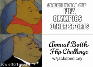 Fifa, Sports, and World Cup: CRICKET WORLD CUP  FIFA  OLYMPICS  OTHER SPORTS  Annual Bottle  Flijp Challenge  w/jackspedicey  low effort me Sweden: 1 Ireland: 1