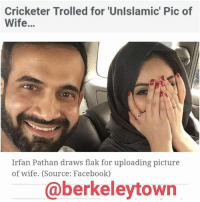 """Love is in the air for Irfan Pathanthese days. Last week, the left-handed bowler was seen singing romantic songs dedicated to his wife Safa Baig. On Sunday, he uploaded a selfie for the first time with her from his official Facebookaccount with the caption, """"This girl is trouble ?? love wifey"""" It did prove trouble for Pathan as he was soon ridiculed for not only uploading picture of his wife, in which half of her face is visible, but also for wearing nail polish. The picture, in which Baig is covering her face, drew flak from fans on Facebook. Pathan is being ridiculed for 'letting her show her arms and part of face.' The comments ranged from advising him to remove the picture to slamming him for not being 'a good Muslim'. A comment read, """"WTF Tell her to cover her arms. Being a muslim and being a Pathan its your duty to do so.""""  Pathan married Baig, a model from Jeddah in a low-key affair in February and the two were blessed with a baby boy in December. The bowler has been out of the cricketing scene and last played for Gujarat Lions franchise in the Indian Premier League. He even scalped two wickets in his last match.: Cricketer Trolled for 'Unlslamic' Pic of  Wife...  Irfan Pathan draws flak for uploading picture  of wife. (Source: Facebook)  @berkeleytown Love is in the air for Irfan Pathanthese days. Last week, the left-handed bowler was seen singing romantic songs dedicated to his wife Safa Baig. On Sunday, he uploaded a selfie for the first time with her from his official Facebookaccount with the caption, """"This girl is trouble ?? love wifey"""" It did prove trouble for Pathan as he was soon ridiculed for not only uploading picture of his wife, in which half of her face is visible, but also for wearing nail polish. The picture, in which Baig is covering her face, drew flak from fans on Facebook. Pathan is being ridiculed for 'letting her show her arms and part of face.' The comments ranged from advising him to remove the picture to slamming him for not being 'a g"""