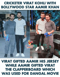 Aamir Khan: CRICKETER VIRAT KOHLI WITH  BOLLYWOOD STAR AAMIR KHAN  LAUGHING  VIRAT GIFTED AAMIR HIS JERSEY  WHILE AAMIR GIFTED VIRAT  THE CLAPPERBOARD WHICH  WAS USED FOR DANGAL MOVIE