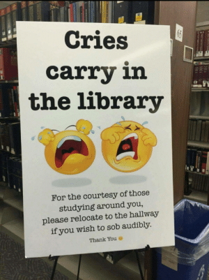 pleatedjeans:via: Cries  carry in  the library  For the courtesy of those  studying around you,  please relocate to the hallway  if you wish to sob audibly.  Thank You pleatedjeans:via