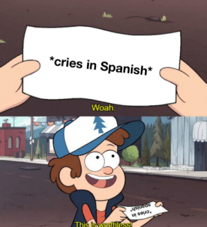 It's pretty obvious: *cries in Spanish*  Woah.  spanish*  *cries in  This is worthless! It's pretty obvious