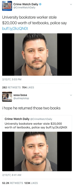 Chris Hansen: CRIME Crime Watch Daily  WATCH  CrimeWatchDaily  CHRIS HANSEN  University bookstore worker stole  $20,000 worth of textbooks, police say  buff.ly/2kzQNOt  2/12/17, 3:03 PM  282 RETWEETS 704 LIKES   sosa bosa  @ushieplstop  i hope he returned those two books  Crime Watch Daily @CrimeWatchDaily  University bookstore worker stole $20,000  worth of textbooks, police say buff.ly/2kzQNOt  2/13/17, 8:41 AM  52.2K RETWEETS 123K LIKES