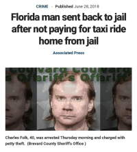 "Crime, Florida Man, and Jail: CRIME  Published June 28, 2018  Florida man sent back to jail  after not paying for taxi ride  home from jail  Associated Press  OU  Charles Folk, 40, was arrested Thursday morning and charged with  petty theft. (Brevard County Sheriffs Office) <p>It's always Florida man via /r/memes <a href=""https://ift.tt/2N4kAx3"">https://ift.tt/2N4kAx3</a></p>"