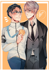 Drunk, Target, and Tumblr: crimson-chains:  Yuri showing off his Olympic gold to proud coach Victor wThe Mizuno uniform really suits Yuri!!! :DDDPart of my art trade with @sheilkuroi who drew this VERY GOOD CHERLOT PIECE 3