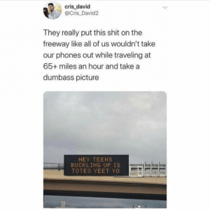 I mean they made it cringe on purpose…… 10 memes of the day: cris david  @Cris David2  They really put this shit on the  freeway like all of us wouldn't take  our phones out while traveling at  65+ miles an hour and take a  dumbass picture  HEY TEENS  BUCKLING UP IS  TOTES YEET YO I mean they made it cringe on purpose…… 10 memes of the day