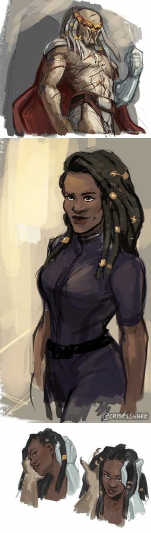 crispy-ghee:  Mass Effect/Predator AU: 6 months laterAfter 6 months of being away, Cousin finally returns to Earth for Shepard. He now bears title as a respected Elder in his tribe and a shiny new prosthesis. He comes dressed to impress, and is greeted by Shepard, who decided to do the same in her own way. They're faux locs but he uh…really takes to them. : crispy-ghee:  Mass Effect/Predator AU: 6 months laterAfter 6 months of being away, Cousin finally returns to Earth for Shepard. He now bears title as a respected Elder in his tribe and a shiny new prosthesis. He comes dressed to impress, and is greeted by Shepard, who decided to do the same in her own way. They're faux locs but he uh…really takes to them.
