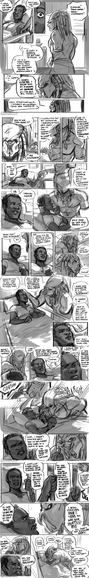 "crispy-ghee:  Mass Effect/Predator AU - RetirementThe Reaper War has ended. Shepard wakes up after a 2 month coma to find Cousin there ready to greet her. But something is off…I was asked a while ago what a ""survive"" ending would be between these two, if both Shepard and Cousin managed to come out of the end of the war alive… I have some thoughts on that, but the 'immediate' aftermath wouldn't leave me, so I had to draw it. I don't often draw these two being mushy. So enjoy it, I guess. : crispy-ghee:  Mass Effect/Predator AU - RetirementThe Reaper War has ended. Shepard wakes up after a 2 month coma to find Cousin there ready to greet her. But something is off…I was asked a while ago what a ""survive"" ending would be between these two, if both Shepard and Cousin managed to come out of the end of the war alive… I have some thoughts on that, but the 'immediate' aftermath wouldn't leave me, so I had to draw it. I don't often draw these two being mushy. So enjoy it, I guess."