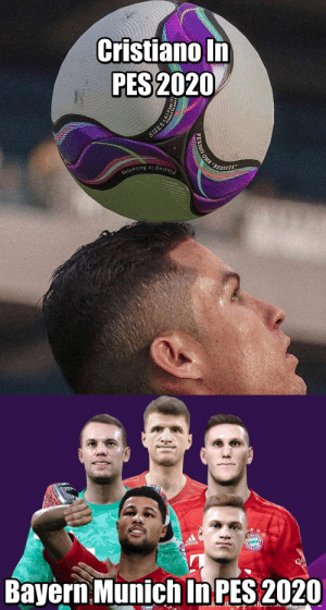 Adidas, Cristiano Ronaldo, and Memes: Cristiano In  PES 2020  SIZE5  REGISTA  Playing is Believing  PES2020 OMB   adidas  Bayern Munich In PES 2020  QA  EWIUN PES spent all their budget on Cristiano Ronaldo https://t.co/CxEXOtcetg