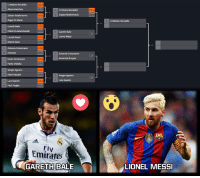 """GARETH BALE vs LIONEL MESSI  Vote simply by clicking the """"love"""" button for Bale or the """"wow"""" button for Messi: Cristiano Ronaldo  6356  Alexis Sanchez  Cristiano Ronaldo  Zlatan Ibrahimovic  Zlatan Ibrahimovic  9925  Angel Di Maria  3757  Gareth Bale  Robert Lewandowski  Gareth Bale  Lionel Messi  Lionel Messi  Marco Reus  Antonie Griezmann  9656  Antonie Griezmann  Kevin De Bruyne  Kevin De Bruyne  Paolo Dybala  Sergio Aguero  Eden Hazard  Sergio Aguero  Luis Suarez  Luis Suarez  Paul Pogba  6924  Emirates  GARETH BALE  Cristiano Ronaldo  LIONEL MESSI GARETH BALE vs LIONEL MESSI  Vote simply by clicking the """"love"""" button for Bale or the """"wow"""" button for Messi"""