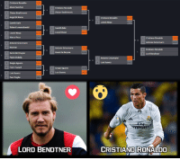 "Cristiano Ronaldo won against Griezmann in the final, but you know what?!?!? He has to face The Lord to with the Tournament!  LORD BENDTNER VS CRISTIANO RONALDO  Vote simply by clicking the ""love"" button for The Lord or the ""wow"" button for Cristiano.  The votes will last two days.: Cristiano Ronaldo  6356  Alexis Sanchez  Cristiano Ronaldo  Zlatan Ibrahimovic  Zlatan Ibrahimovic  Angel Di Maria  3757  Gareth Bale  Robert Lewandowski  Gareth Bale  Lionel Messi  Lionel Messi  Marco Reus  Antonie Griezmann  9656  Neymar  Antonie Griezman  Kevin De Bruyne  Kevin De Bruyne  9316  Paolo Dybala  Sergio Aguero  Eden Hazard  Sergio Aguero  Luis Suarez  Luis Suarez  Paul Pogba  6924  LORD BENDTNER  5559  Cristiano Ronaldo  Lionel Messi  Cristiano Ronaldo  Antonie Griezmann  Cristiano Ronaldo  Lord Bendtner  Antonie Griezmann  Luis Suarez  CRISTIANO RONALDO Cristiano Ronaldo won against Griezmann in the final, but you know what?!?!? He has to face The Lord to with the Tournament!  LORD BENDTNER VS CRISTIANO RONALDO  Vote simply by clicking the ""love"" button for The Lord or the ""wow"" button for Cristiano.  The votes will last two days."