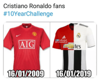 Cristiano Ronaldo, Friends, and Memes: Cristiano Ronaldo fans  #10YearChallenge  fTrollFootball  @ TheFootballTrol  AIG  tes  16/01/2009 16/01/2019 Spot on 👉😆👏 - DM to 5 friends for a shoutout
