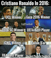 Cristiano Ronaldo for you: Cristiano Ronaldo in 2016:  UCL Inner Euro 2016 Winner  Trol Football  UEFA SC Winner  UEFA Best Player  CWC Winner  Ballon D or  FIFA Best Player The Best Playerin The World! Cristiano Ronaldo for you