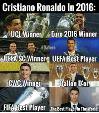 cwc: Cristiano Ronaldo In 2016  UCL Winner, Euro 2016 Winner  #Davero  UEFA SC Winnert UEFA Best Player  Lili CWC Winner  L Ballon D:or  FIFA Best Player The Best Playerin The World