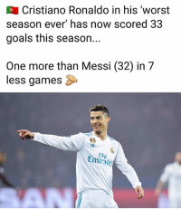 Cristiano Ronaldo, Friends, and Goals: Cristiano Ronaldo in his 'worst  season ever' has now scored 33  goals this season..  One more than Messi (32) in 7  less games  Fl  Emiate  AN Ronaldo scores a brace in LaLiga today..... Tag friends👇🏽