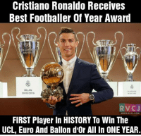#ballondor2016: Cristiano Ronaldo Receives  Best Footballer of Year Award  MILAN  GLASGOW  16  VC J  WWW RVCJ.COM  FIRST Player In HISTORY To Win The  UCL, Euro And Ballon d'Or All In ONE YEAR. #ballondor2016
