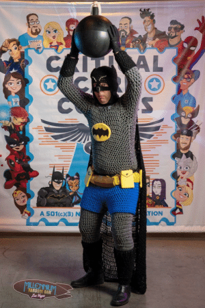 My handmade (crocheted) Batman costume: CRITICAL  CA  AL  A 501(c)(3) N  TION  FANDOM BAR  Las Vegas  WNINNG TIL My handmade (crocheted) Batman costume