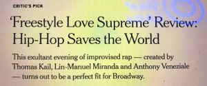 Holy Critic's Pick, Batman #FreestyleLoveSupreme https://t.co/4zgUsKqxI1: CRITIC'S PICK  Freestyle Love Supreme' Review:  Hip-Hop Saves the World  This exultant evening of improvised rap  Thomas Kail, Lin-Manuel Miranda and Anthony Veneziale  turns out to be a perfect fit for Broadway.  created by Holy Critic's Pick, Batman #FreestyleLoveSupreme https://t.co/4zgUsKqxI1