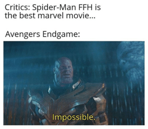 Spider, SpiderMan, and Avengers: Critics: Spider-Man FFH is  the best marvel movie...  Avengers Endgame:  Impossible.