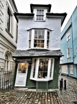Dating back to the year 1592, The Crooked House of Windsor is the oldest Teahouse in all of England. Construction began over 425 years ago!: CROOKED HOUSE Dating back to the year 1592, The Crooked House of Windsor is the oldest Teahouse in all of England. Construction began over 425 years ago!