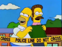 "Family, Memes, and Police: CROSS  POLICE LINE DO NOT CROSS ""Fooled ya, Flanders! Made you think your family was dead!"""