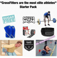 "About that... @squatdeepbreh: ""CrossFitters are the most elite athletes'  Starter Pack  SUGAR  TAPE  ROGUE  CrossFit  LEVEL ONE  CERTIFICATE COURSE  じ. About that... @squatdeepbreh"