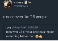 Best, Irl, and Me IRL: crossy  @crossy72_  a dont even like 23 people  ross @RossAle71605696  Ibiza with 23 of your best pals tell me  something better man Me irl