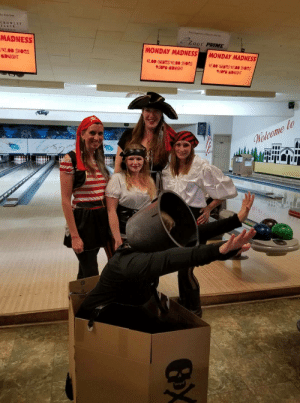 Shoes, Bowling, and Dress: CROWLEY  FLECK  C Zoot PRIME  MADNESS  MONDAY MADNESS MONDAY MADNESS  $2.00 SHOes  MIDNIGHT  $2.00 GaNGS/$2.00 SHOGs  9:30PM-MIDNIGHT  2.00 GRNGS/$2.00 SHOGS  9:50PM MIDNIGHT  fla My wife went to a pirate themed charity bowling event but decided last minute she didnt want to dress like a pirate since she figured everyone else would be. So she went as a cannon.