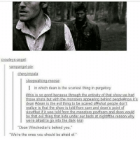 "Memes, Monster, and Scare: Crowleys-angel  am  pie:  chevyimpala:  sleepwalking-moose:  in which dean is the scariest thing in purgatory  #this is so good because through the entirety of hat show we had  those shots but with the monsters appearing behind people #now  it's  dean #dean is the evil thing to be scared of what people don't  realize is that the show is told from sam and dean's point of  viewi but if it was told from the monster  vitsam and dean would  be that evil thing that hide under our beds at night the reason why  we're afraid to go into the dark via)  ""Dean Winchester's behind you.""  ""We're the ones vou should be afraid of."" spn Supernatural spnfamily jaredpadalecki jensenackles mishacollins sam dean winchesters castiel destiel fandom ship otp"