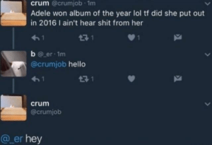Adele, Hello, and Lol: crum @crumjob 1m  Adele won album of the year lol tf did she put out  in 2016 I ain't hear shit from her  51  b er 1m  @crumjob hello  crum  @crumjob  @_er hey crum says hey