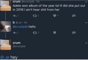 Adele, Hello, and Lol: crum @crumjob 1m  Adele won album of the year lol tf did she put out  in 2016 I ain't hear shit from her  17 1  b @ er 1m  @crumjob hello  13 1  crum  @crumjob  @ er hey Crumjob's profile pic makes it even better.