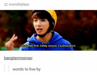 Cute, Live, and First: crunchylays  K Safety first. Safety second. Coolness third.  bangtannoonas  bangtannoonas  words to live by Cute and wise