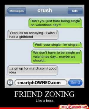 Friend zoninghttp://omg-humor.tumblr.com: crush  Messages  Edit  Don't you just hate being single  on valentines day?!  Yeah. its so annoying.. I wish I  had a girlfriend  Well, your single, I'm single..  We don't have to be single on  valentines day... maybe we  should..  .sign up for match.com! good  idea  smartphOWNED.com  Send  FRIEND ZONING  Like a boss  TASTE OF AWESOME.COM Friend zoninghttp://omg-humor.tumblr.com
