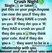 Why not ?: Crush Night 3  Single  or taken  put this on your page.Anyone  can now dm you.If they dm  on you. If they dm you a  they HAD a crush on you.If  they dm you a they think  your cute. And if they dm  you a O they want to be in a  Emckayzie 13 youtu  relationship with you.  Repost and see what vou get Why not ?