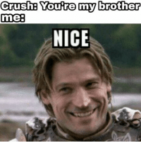 Nice, Brother, and Youre: Crushe Youre my brother  me:  NICE https://t.co/HHZdwMLp5n