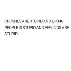 https://iglovequotes.net/: CRUSHES ARE STUPID AND LIKING  PEOPLE IS STUPID AND FEELINGS ARE  STUPID https://iglovequotes.net/