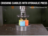Dank, Candles, and 🤖: CRUSHING CANDLES WITH HYDRAULIC PRESS  Hydraulic Press Channel I FB We need more candles please!  By Hydraulic press channel