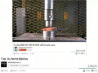 Hydraulic: Crushing RED HOT 1000'C KNIFE with hydraulic press  52 614 vues  Top 10 Anime Battles  watchMojo.com  Sabnbed 1061382  4,155,171  317