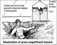 "Tumblr, Blog, and Http: Crusted  Grain  Surface  It takes only two to three  seconds to become helpless  in flowing grain  Void  Illustration of grain engulfment hazard <p><a class=""tumblr_blog"" href=""http://laddermatch.tumblr.com/post/150947509754"">laddermatch</a>:</p><blockquote> <p>diagram of me succumbing to the grain</p> </blockquote>  <p>DO NOT SUCCUMB TO THE G R A I N</p>"