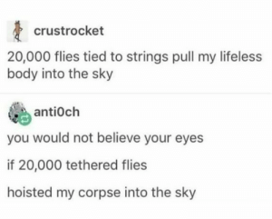 crank up the volume: crustrocket  20,000 flies tied to strings pull my lifeless  body into the sky  antiOch  you would not believe your eyes  if 20,000 tethered flies  hoisted my corpse into the sky crank up the volume
