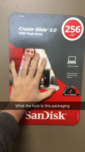 Drive, Fuck, and Flash: Cruzer Glide-3.0 256  USB Flash Drive  GB*  What the fuck is this packaging  SanDisk This overly sized USB packaging